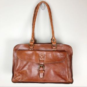 Patricia Nash Brown Leather Satchel Shoulder Bag